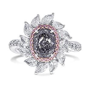 3.13Cts Gray Diamond Ring Set in 18K Size 6