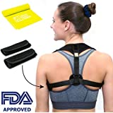 Hum hum home Posture Corrector for Men and Women - Effective Upper Back Clavicle Chest Support Device for Thoracic Kyphosis - Shoulder and Neck Pain Relief - BONUS Resistance Band + 2 Armpit Pads