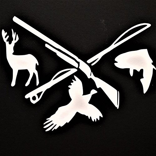 Chase Grace Studio Hunting Fishing Deer Pheasant Fish Vinyl Decal Sticker|WHITE|Cars Trucks Vans SUV Laptops Walls Glass Metal |7.5