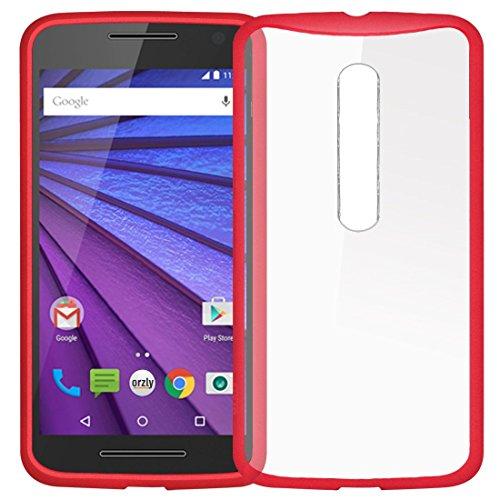 Orzly® FUSION Bumper Case para MOTOROLA MOTO G (Gen 3) SmartPhone (2015 Modelo) - Funda Dura Cubierta Protectora con absorción de impactos ROJO goma Rim y completo transparente Panel posterior MOTO G (Gen3) - ROJO