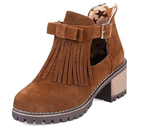 Cm Sweet 8 6 Heels Mocassini Oxfords Da 5 Boots Block Zipper Nappe Back Giallo Taglia Hitime Pumps Donna 2 Bdaq88w