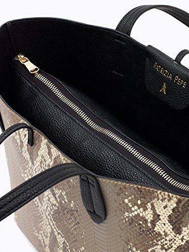 Borsa Shopping reversibile 2V5452 A3XE Beige Gold Python