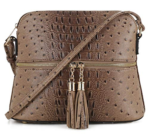 SG SUGU Crocodile Pattern Lightweight Medium Dome Crossbody Bag with Tassel | LCF ()