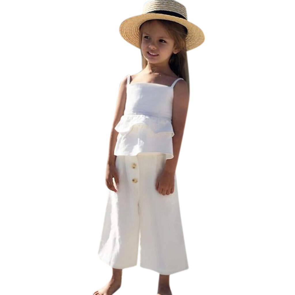 NUWFOR Infant Baby Girls Kids Straps Ruffle Tops T Shirt+Pants+Headband Outfits Set(White,6-12 Months)