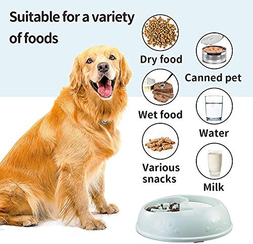 Langsam Fütterung Hundenapf für Mittlere und Große Hunde, rutschfeste Langsam Essen Fressnapf, Langsam Fressen Hund Schüssel, Slow Feeder Anti Schling Napf, Blau
