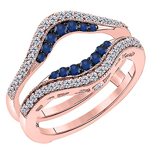 (Women's 14k Rose Gold Plated Alloy Double Row Pave Set 0.50(ctw) CZ Blue Sapphire & Cubic Zirconia Round Wedding Band Solitaire Enhancer Guard Wrap Ring)