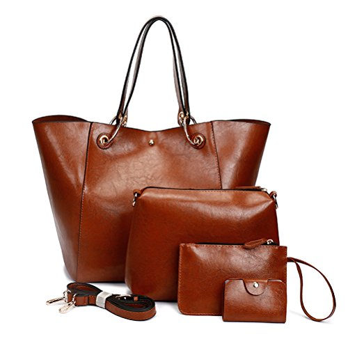 Leather Tote Bag for Women Purses Set Large Brown Shoulder Bags 4pcs Top Handle Satchel Handbags