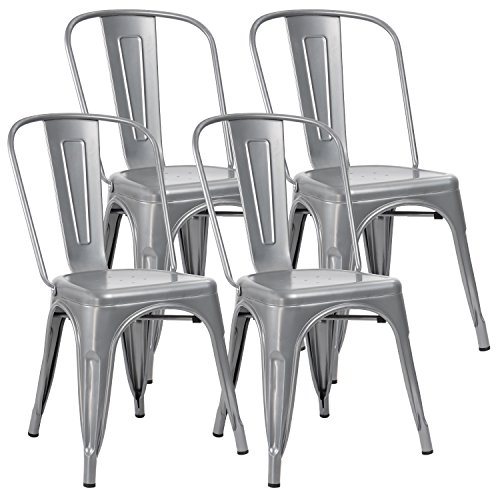 JUMMICO Metal Dining Chair Stackable Indoor-Outdoor Industrial Vintage Chairs Bistro Kitchen Cafe Side Chairs with Back Set of 4 (Silver)