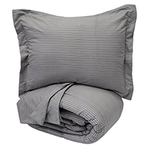 Sweet Home Collection 3 Piece Loft Collection Pinstripe Reversible Down Alternative Comforter Set, Full/Queen, Gray