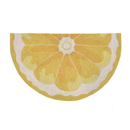 Liora Manne FTPH2155609 Front Porch Home Sun Yellow Lemon Slice Indoor/Outdoor Rug 2' X 3' Half Round Yellow and Gold