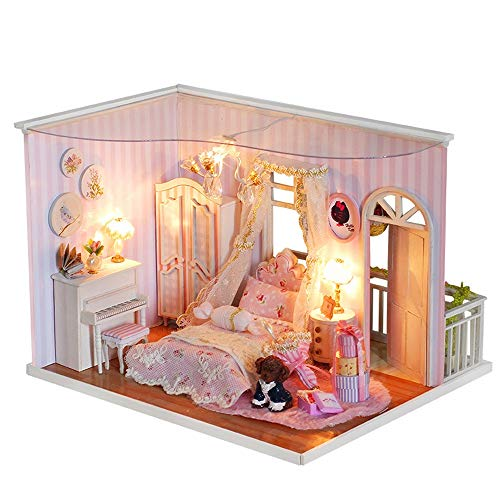 (Gbell  Girls Dollhouse Miniature with Furniture ,3D Wooden Doll House Playhouse DIY Handmade Mini Playhouse Furniture LED Light House Assembly Doll Theater Best Gift for Kids)