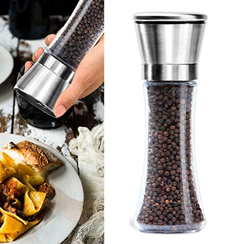 YOCrazy-US Direct Premium Stainless Steel Salt and Pepper Grinder Salt and Pepper Mill 6 Oz Tall Glass Salt and Pepper Shakers Salt Grinders and Pepper Mill Shaker Set