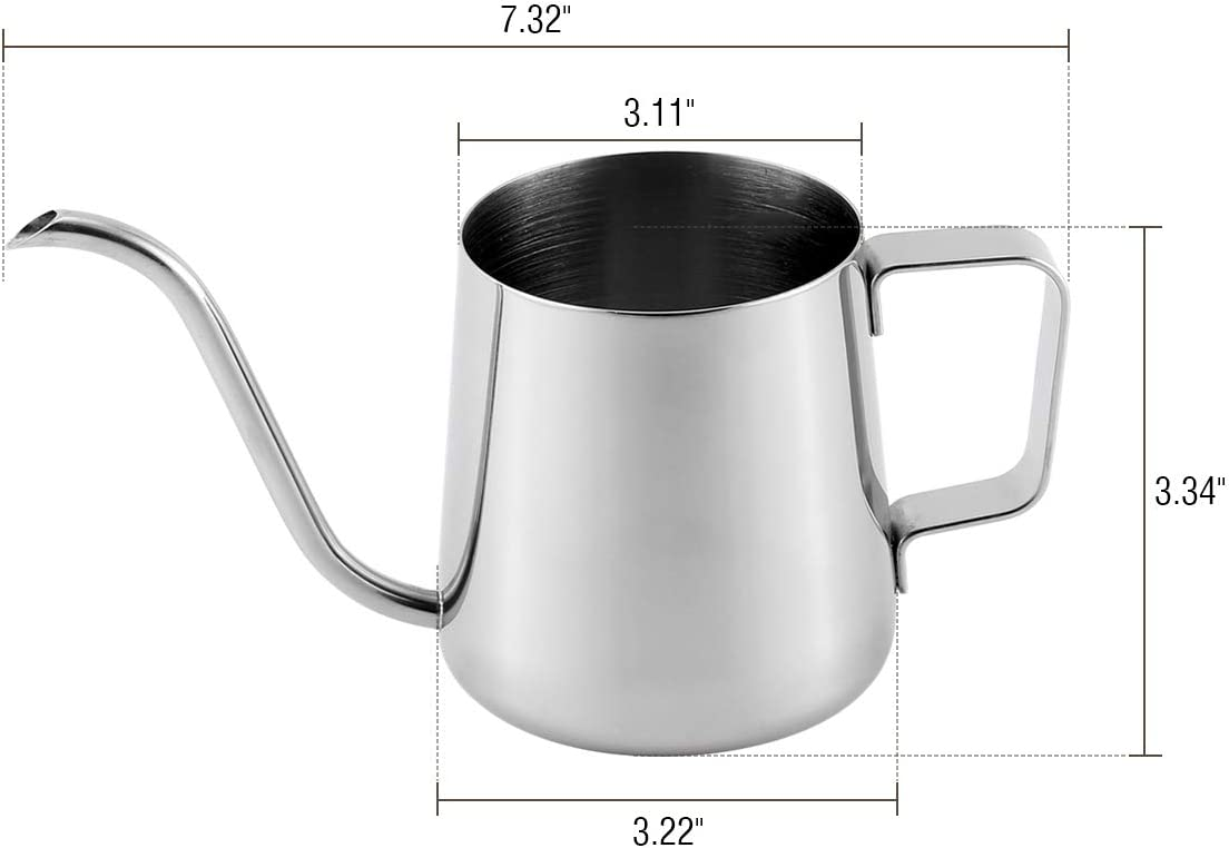 Cosaux Stainless Long Spout Drip Kettle WS16 Long Narrow Spout Coffee Pot Is Made Of 304 Stainless Steel And Silicone Plug For People Who Love Life And Love Coffee