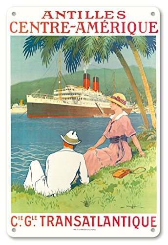 Vintage Cruise Ship - Pacifica Island Art 8in x 12in Vintage Tin Sign - Antilles Central America - (CIE GLE) (French Line) - SS Flandre Cruise Ship by Sandy Hook
