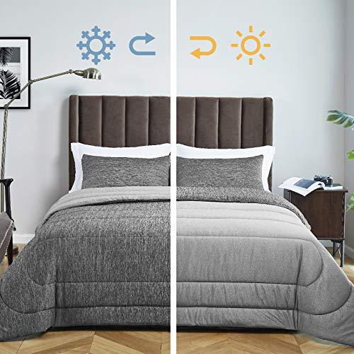 Bedsure Grey Queen Comforter Set, Reversible Warm&Cooling Comforter All-Season Down Alternative Bed Set – Soft…