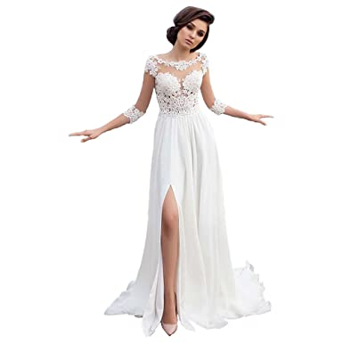 9e64937abd Dexinyuan Lace Beach Wedding Dress 2019 Chiffon 3/4 Long Sleeve Bridal Gowns  for Wedding at Amazon Women's Clothing store: