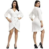 Halfword Womens Ruffles Wrap Dresses - Sexy V Neck Asymmetrical High Low Dresses for Women