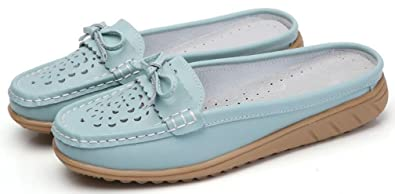 2f86125120d Women s Slip on Leather Loafer Mules Wide Fit Casual Flats Lace-Up Moccasins  Slippers Summer
