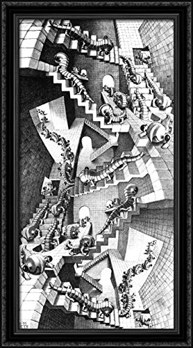 House of Stairs 22x40 Large Black Ornate Wood Framed Canvas Art by M.C. Escher