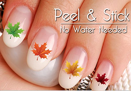 Decal Set Maple - 40 Fall and Autumn Maple Leaf Nail Art Decal Sticker Set