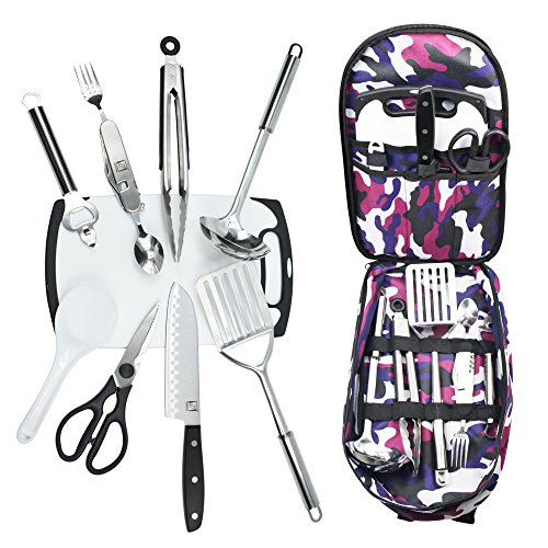 Wellmax Camping Cookware Set | Become an Outdoor Chef and Camp in comfort | Premium Cooking Utensils and Dinnerware Kit | Portable and Lightweight Utensil Organizer | 10 Piece Cutlery Holder by Wellmax