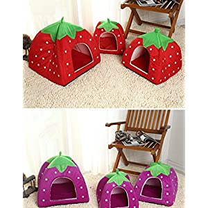 Pet Dog Cat Soft House Bed Foldable Bag with Pad Mat Fleece Strawberry Leopard Print Basket Cushion