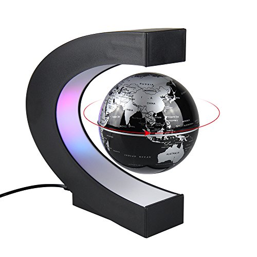 Aukee 3 inch C Shape Magnetic Levitation Floating Globe Maglev Globes World Map with LED Light for Teaching Home Office Desk Decoration Black ()