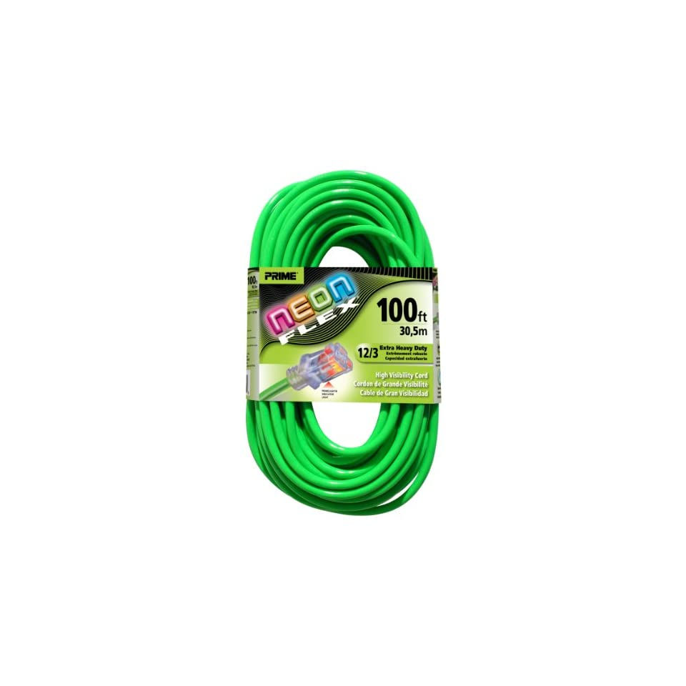 Prime Wire & Cable NS512835 100 Foot 12/3 SJTW Flex High Visibility Extra Heavy Duty Outdoor Extension Cord with Prime light Indicator Light, Neon Green