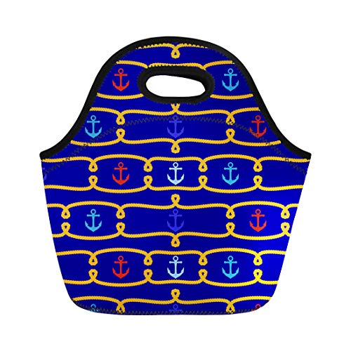 Semtomn Lunch Bags Boating Navy Anchor Tileable Nautical Boat Chain Classic Knot Neoprene Lunch Bag Lunchbox Tote Bag Portable Picnic Bag Cooler Bag