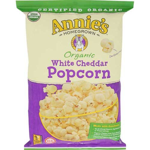 Annies Homegrown Organic White Cheddar Popcorn, 4.4 Ounce - 12 per case.
