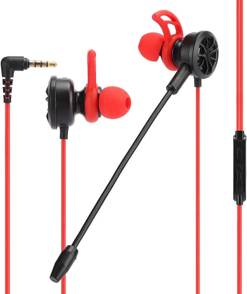 in-Ear Gaming Headset, 3.5mm Port Wired Game Headphone Noise Cancelling Stereo Bass E-Sport Earphone with Mic for PC/Laptop/Cellphone