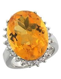 14K White Gold Natural Citrine Ring Large Oval 18x13mm Diamond Halo, sizes 5-10