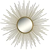 "36"" Decorative Wall Hanging Mirror in Sunburst Shape, Brushed Gold Sunburst Round Wall Mirror, Mid Century Modern Style Mirror, Brushed Gold Finish"