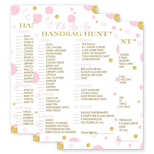 Pink and Gold What's In Your Purse Game Cards - Set of 25 - Abstract Dots by Paper Clever Party