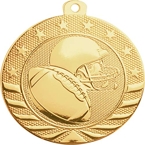 Express Medals 10-Pack of Football 2 inch Gold Color 1st Place Medal Trophy with Neck Ribbons Metal Awards