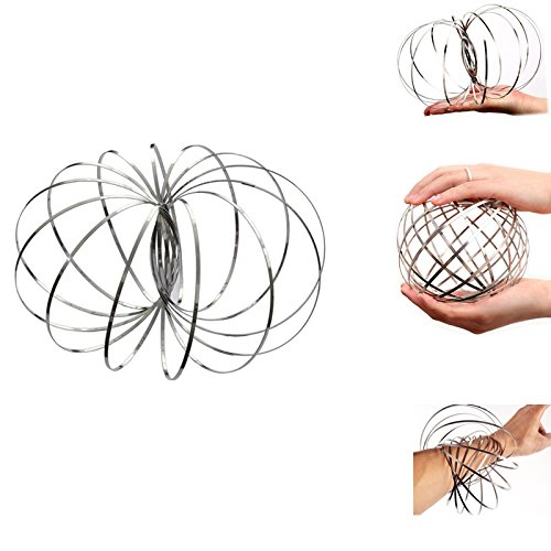 EASY-HAPPYLIFE Multi Sensory Interactive 3D Shaped Flow Ring-Decompression Magic Screw Bracelet Magic Bangle Stainless Steel Arm Slinky Flow Rings (1-pack) -