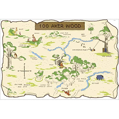 Kids Brown Green Blue Winnie The Pooh Map Wall Decals, Disney Themed Wall Stickers Peel Stick, Fun 100 Aker Woods Tigger Eeyore Piglet Decorative Graphic Mural Art, Vinyl