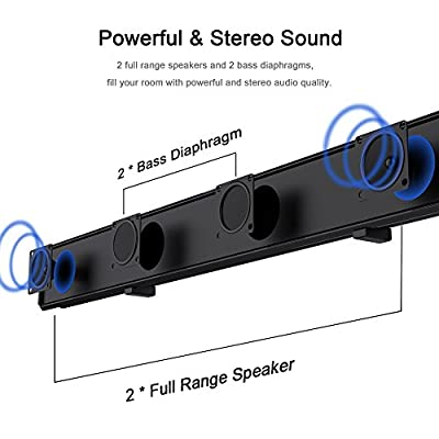 Soundbar, Wotmic Wired and Wireless Home Speaker for TV Bluetooth Sound Bar Speaker with Remote Control 38-inch Wall Mountable 2.0 Channel Audio
