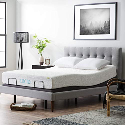 (LUCID L300 Adjustable Bed Base - 5 Minute Assembly - Dual USB Charging Stations - Head and Foot Incline - Wireless Remote Control - Upholstered - Ergonomic - Full - Charcoal)