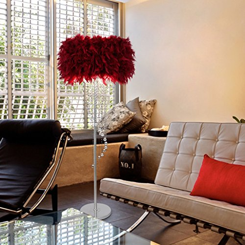 Retro Dark Rust Pendant (Crystal Tassel Floor Lamps Modern Simple Wedding Room Bedroom Living Room Feather Standard Lamp ( Color : Dark red ))