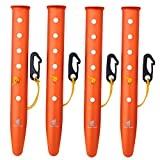 Geertop Aluminum Tent Peg Stakes and Nail for Beach and Snow Camping Backpacking or Hiking Trip with Connecting Cord and Hook (Orange, 12.2 inch)