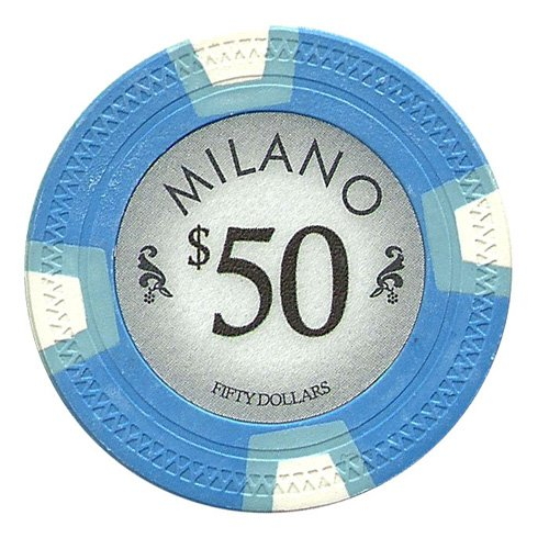 Claysmith Gaming $50 Clay Composite 10 Gram Milano Poker Chips - Sleeve of 25