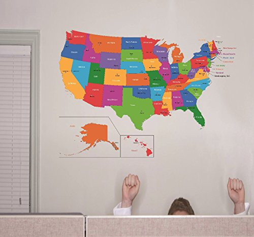 Design-with-Vinyl-RAD-1262-3-United-States-Of-America-World-Map-Classroom-School-Kids-Teacher-Students-Colorful-Learning-Teaching-Vinyl-Wall-Decal-20-x-30