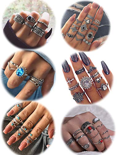 LOLIAS 44-60 Pcs Vintage Knuckle Ring Set for Women Girls Stackable Rings Set Hollow Carved Flowers (E:58 Pcs a Set)