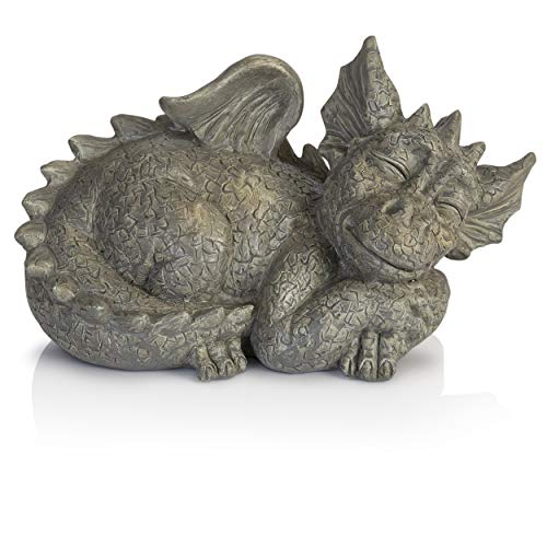 Besti Decorative Outdoor Dragon Garden Statue - Cold Cast Ceramic Statue | Lawn and Yard Decoration | Weather-Resistant Finish (Sleeping Ornament Garden Dragon)