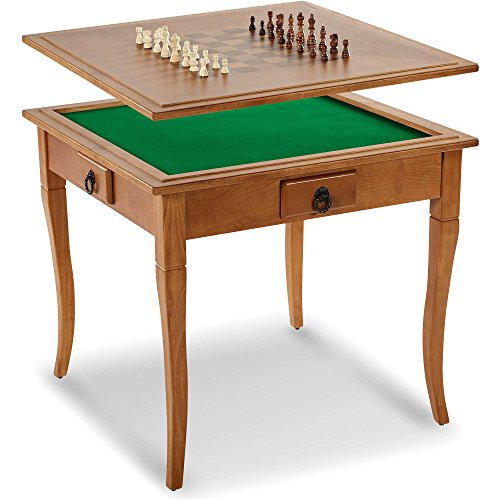 Classic 2-in-1 Solid Wood Traditional Chessboard Gaming Table with Table Top (Drawer Wood Traditional)