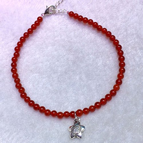 Run amount natural red agate silver Foot Chain anklet ankle chain with a five-pointed star Zang Fu Hongyun putting word meaning blessing natal gift