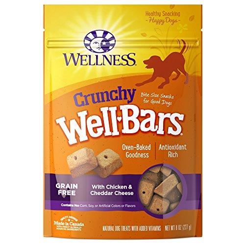 Wellness Crunchy Wellbars Natural Grain Free Dog Treats, Chicken & Cheddar, 8-Ounce Bag