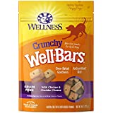 Wellness Crunchy WellBars Natural Grain Free Dog Treats, Chicken & Cheddar, 8-Ounce Bag