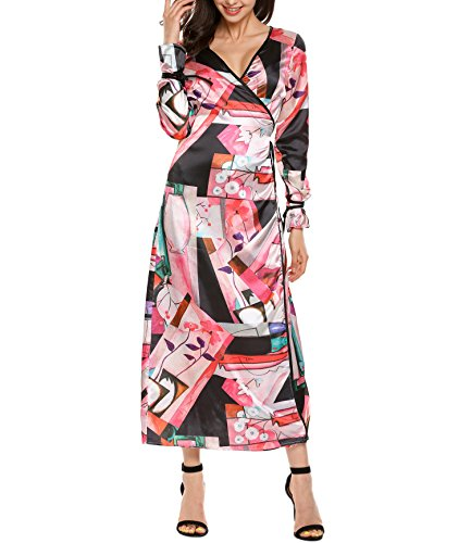 Zeela Women's Vintage Style Wrap Front V-Neck Long Sleeve Print Maxi Dress (Long Sleeve Wrap Front Dress)